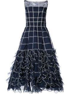 расклешенное платье с цветочной вышивкой Carolina Herrera