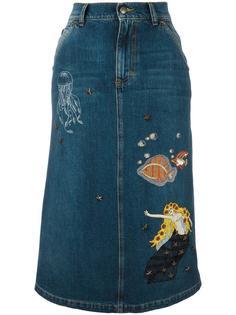 джинсовая юбка с нашивками Red Valentino