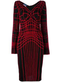 web embroidered fitted dress Thierry Mugler Vintage