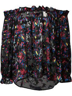 прозрачная блузка с открытыми плечами Saloni
