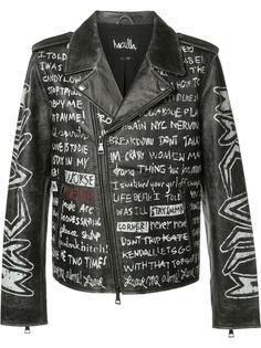 байкерская куртка с принтом текста Haculla
