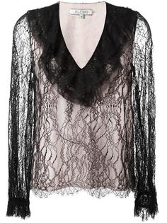 ruffled V-neck lace blouse Alexis