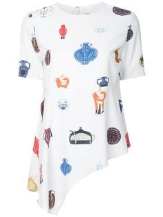 асимметричная футболка с принтом ваз Taro Horiuchi