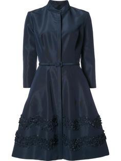 расклешенное платье с цветочной аппликацией Carolina Herrera