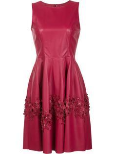 расклешенное платье с лазерной перфорацией Carolina Herrera