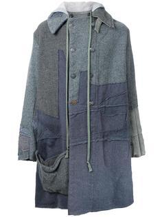 лоскутное пальто с капюшоном Greg Lauren