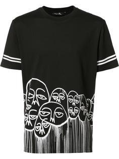 футболка с принтом лиц Haculla
