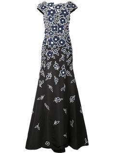 вечернее платье с цветочной вышивкой Carolina Herrera