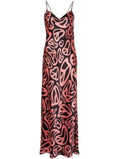 длинное платье с принтом пацифика Moschino