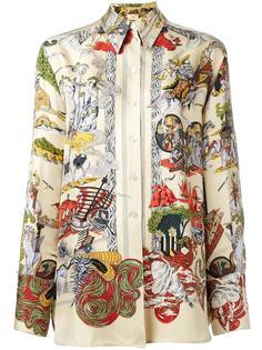 horse landscape print shirt Hermès Vintage