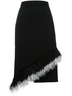 юбка со вставкой из перьев Christopher Kane