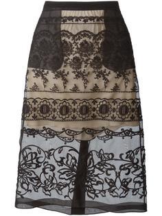 прозрачная юбка с цветочной вышивкой Nº21