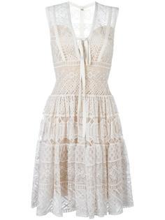 кружевное платье с V-образным вырезом Elie Saab