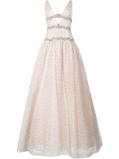 вечернее платье с V-образным вырезом и вышивкой Carolina Herrera