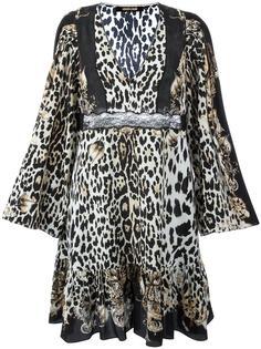 расклешенное платье с леопардовым принтом Roberto Cavalli
