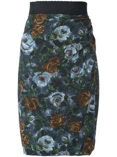 юбка с принтом роз Dolce & Gabbana Vintage