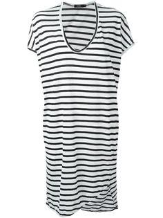 трикотажное платье в полоску с U-образным вырезом  Bassike