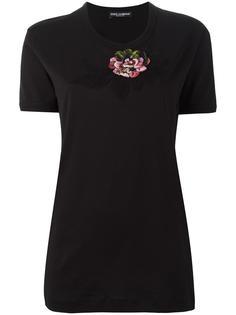 футболка с заплаткой в форме розы Dolce & Gabbana