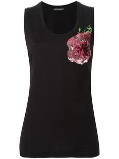 топ с принтом розы из пайеток Dolce & Gabbana