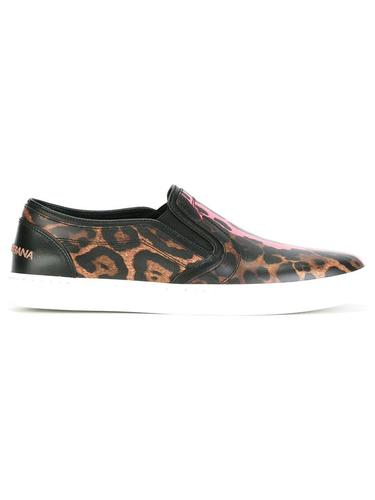 кеды-слипон с леопардовым принтом Dolce & Gabbana