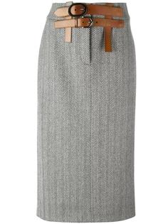 юбка прямого кроя с узором-елочкой Tom Ford