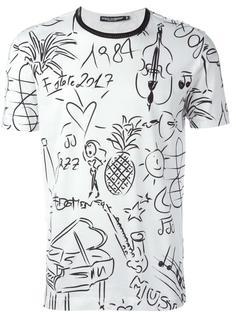 футболка с принтом рисунков Dolce & Gabbana