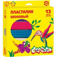 Пластилин неоновый 12 цветов  со стеком Каляка Маляка