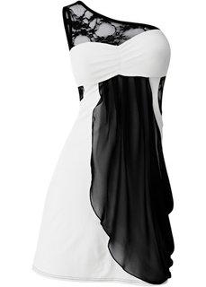 Платье на одно плечо (черный / старая роза) Bonprix
