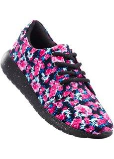 Кроссовки с цветочным принтом (черный/ярко-розовый) Bonprix