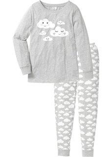 Пижама из органического хлопка (светло-серый меланж/белый с ри) Bonprix