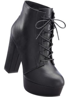 Полусапожки на шнуровке и платформе (черный) Bonprix