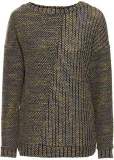 Вязаный пуловер (темно-зеленый/меланжевый карри) Bonprix