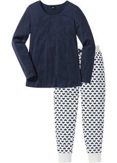 Пижама из органического хлопка (натуральный меланж/темно-синий) Bonprix