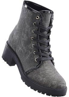 Высокие ботинки на шнуровке (антрацитовый меланж) Bonprix