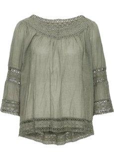 Блузка с кружевными вставками (черный) Bonprix