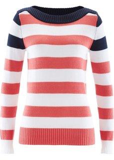 Пуловер с вырезом-лодочкой (нежно-мятный/темно-синий/белый) Bonprix