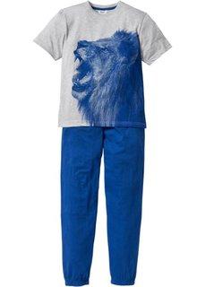 Пижама (2 изд.) (светло-серый меланж/синий) Bonprix