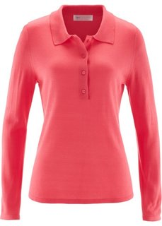 Пуловер с воротником-поло (цвет белой шерсти) Bonprix