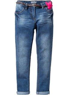 Узкие джинсы с ремнем (синий) Bonprix