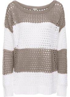 Пуловер (белый/индиго в полоску) Bonprix