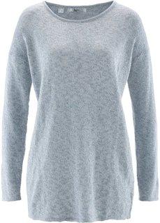 Пуловер прямого короткого покроя с длинным рукавом (темно-синий меланж в полоску) Bonprix