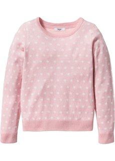 Пуловер в горошек (розовая пудра/цвет белой шерст) Bonprix