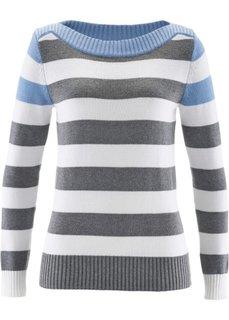 Пуловер с вырезом-лодочкой (темно-синий/коралловый/белый в) Bonprix