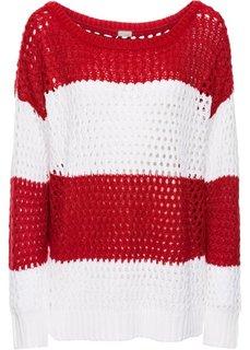 Пуловер (белый/серо-коричневый в полоск) Bonprix