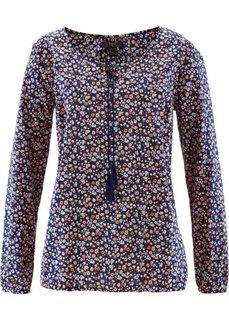 Блузка с длинным рукавом (голубой с узором) Bonprix