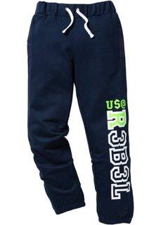 Хлопковые трикотажные брюки с актуальным принтом (серый меланж) Bonprix