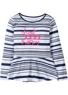 Полосатая футболка с баской (белый/темно-синий в полоску) Bonprix