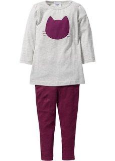 Удлиненная футболка + легинсы (2 изд.) (антрацитовый меланж/нежно-розо) Bonprix