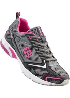 Беговые кроссовки от Brütting (серый/черный/ярко-розовый) Bonprix