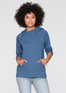 Свитшот с кружевной отделкой и длинным рукавом (синий джинсовый) Bonprix